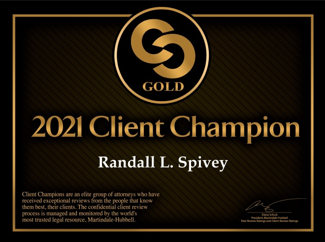 Randall L. Spivey Named 2021 Client Champion